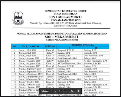 Format Jadwal Pembina dan Petugas Uoacara Hari Senin SDN 1 Mekarmukti Cibalong Garut Tahun Pelajaran 2019/2020, http://www.librarypendidikan.com/