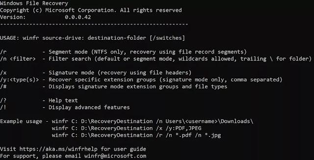 تعرف علي وحمل أداة إستعادة الملفات الجديدة من ميكروسوفت Windows File Recovery