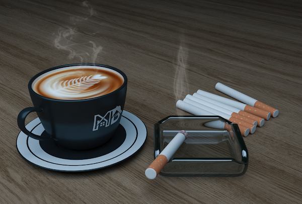 Cofee Mug and Cigarrette