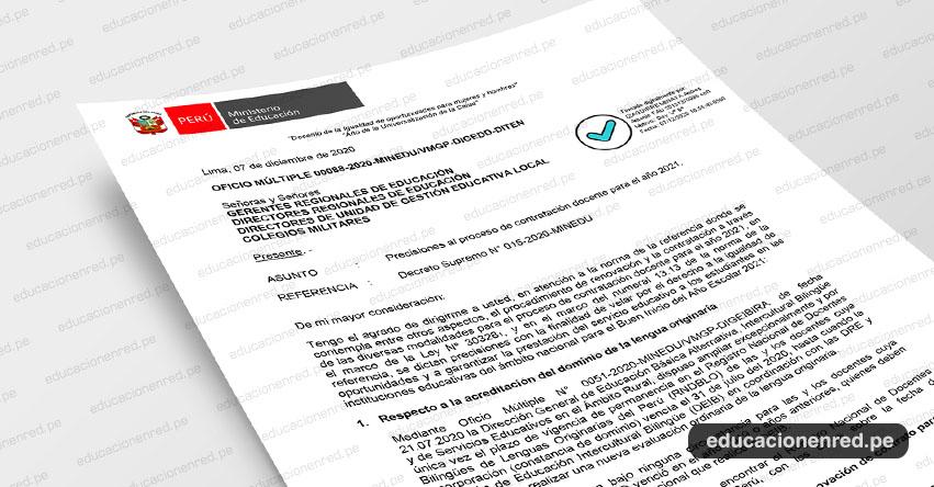 OFICIO MÚLTIPLE 00088-2020-MINEDU/VMGP-DIGEDD-DITEN.- Precisiones al proceso de contratación docente para el año 2021