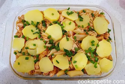 This creamy potato pasta bake is made quick especially if you already have left over chicken but it's still quick even if you have to cook chicken and potatoes.
