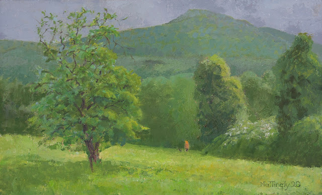 Oil painting of apple tree in foreground and Mt. Norwottuck against a gray sky in backgound. A woman walks her dog beneath trees and shrubbery in the middle ground.