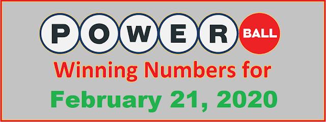 PowerBall Winning Numbers for Saturday, February 22, 2020