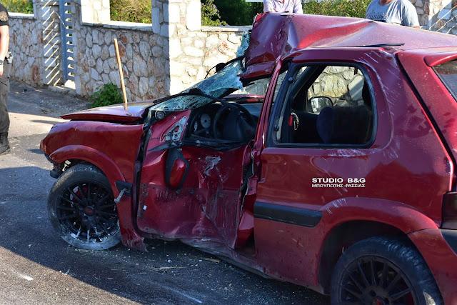 Σφοδρή σύγκρουση αυτοκινήτου στο Δρέπανο Αργολίδας