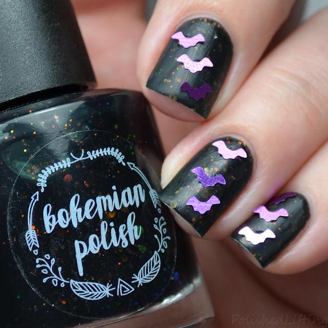 bat themed nail art