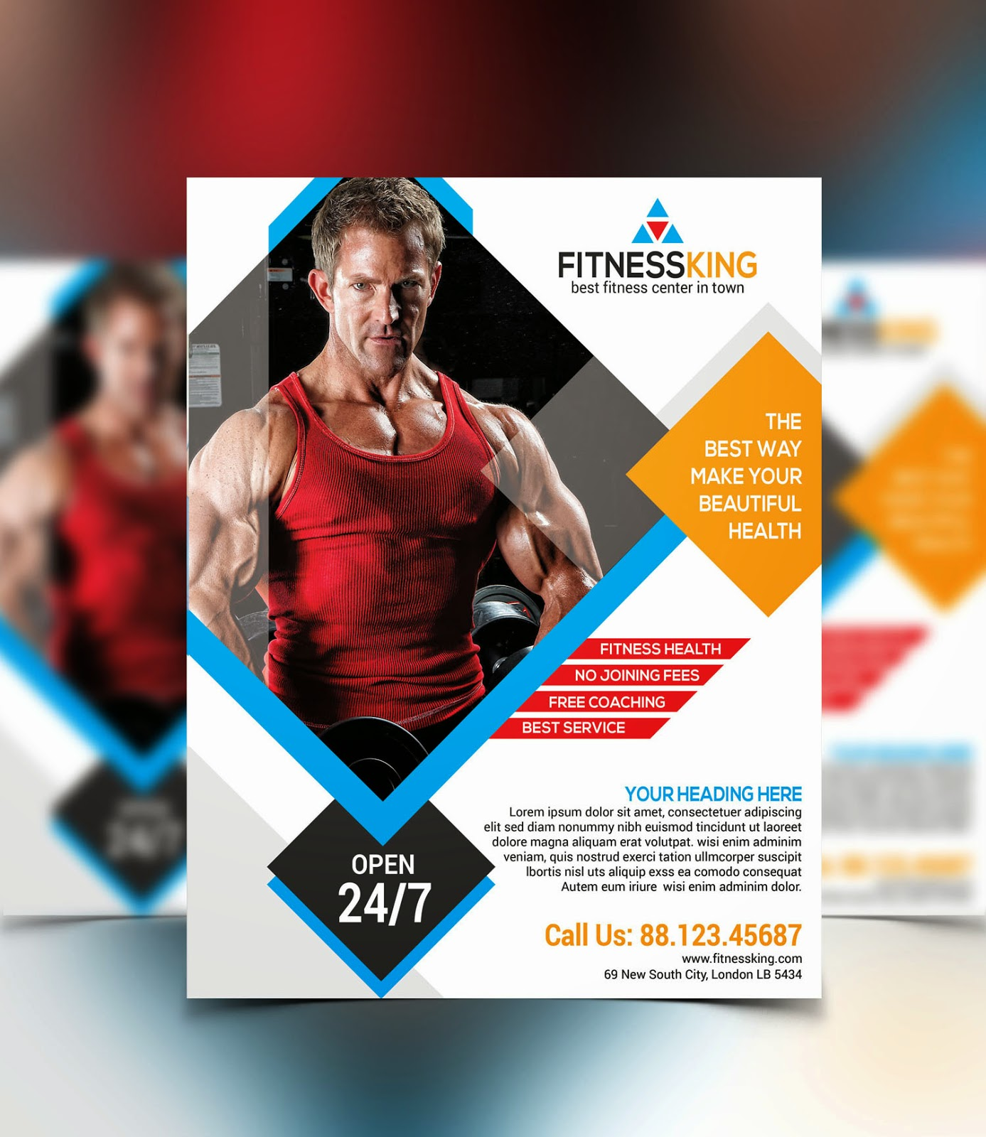 graphicwind fitness gym flyer template