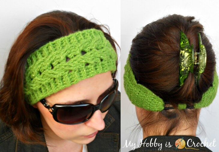 crochet cable headband with elastic for perfect fit