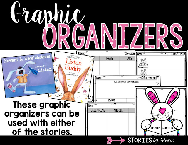 These graphic organizers work well with Listen, Buddy and Howard B. Wigglebottom Learns to Listen. Both of these picture books are great to read when working with students on listening skills.