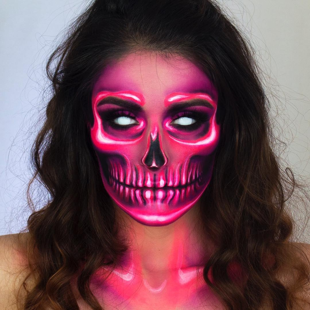 04-Neon-Skull-Giulianna-Maria-Makeup-Tutorial-to-Transform-your-Face-www-designstack-co