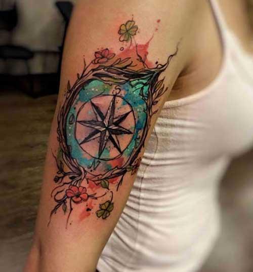 floral compass tattoo design çiçekli pusula dövme modeli