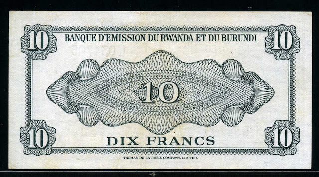 Rwanda-Burundi currency 10 Francs note