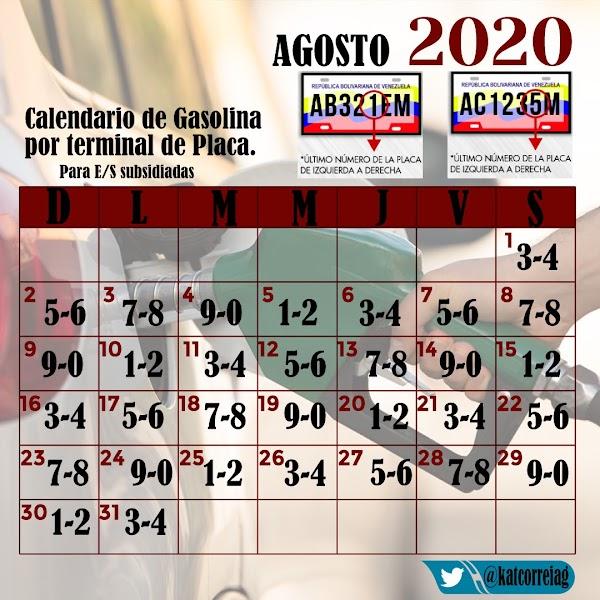 Calendario para abastecimiento de gasolina para el mes de Agosto