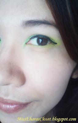 Fresh lime green eye makeup