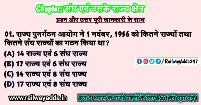 संघ एवं उसके राज्य क्षेत्र- भारतीय राज्यव्यवस्था (Union and Territories- Indian Constitution)