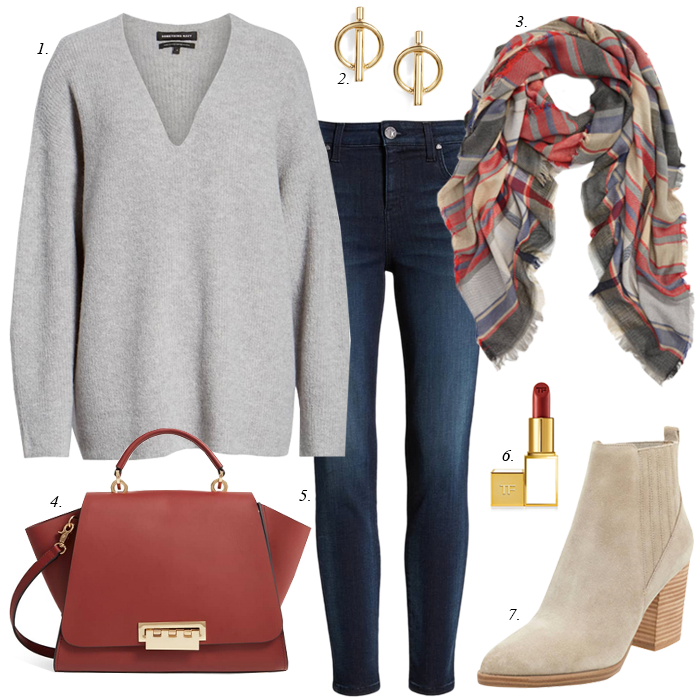 Plaid scarf, skinny jeans, grey sweater, red satchel bag, casual fall women outfit