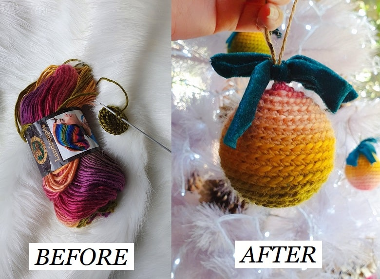 DIY crochet Christmas baubles