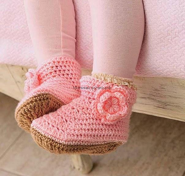 Patrón #1194: Zapatitos Niña a Crochet