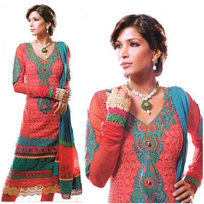 Chudidar Kameez Suit with Embroidery and Crochet Border