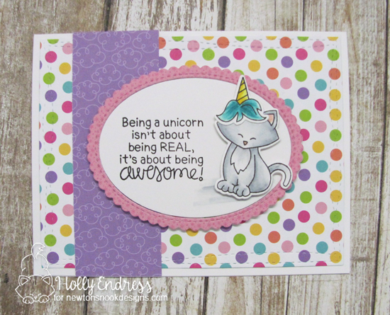 Cat dressed as a unicorn | Card by Holly Endress | Newton's Costume Party and Believe in Unicorns stamp Sets by Newton's Nook Designs #newtonsnook #handmade