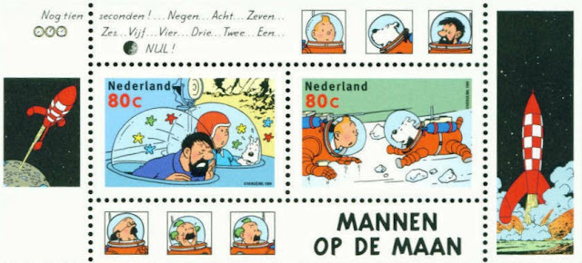 Tintin Moon 2x Stamp Sheet New 1999 Netherlands-hergé