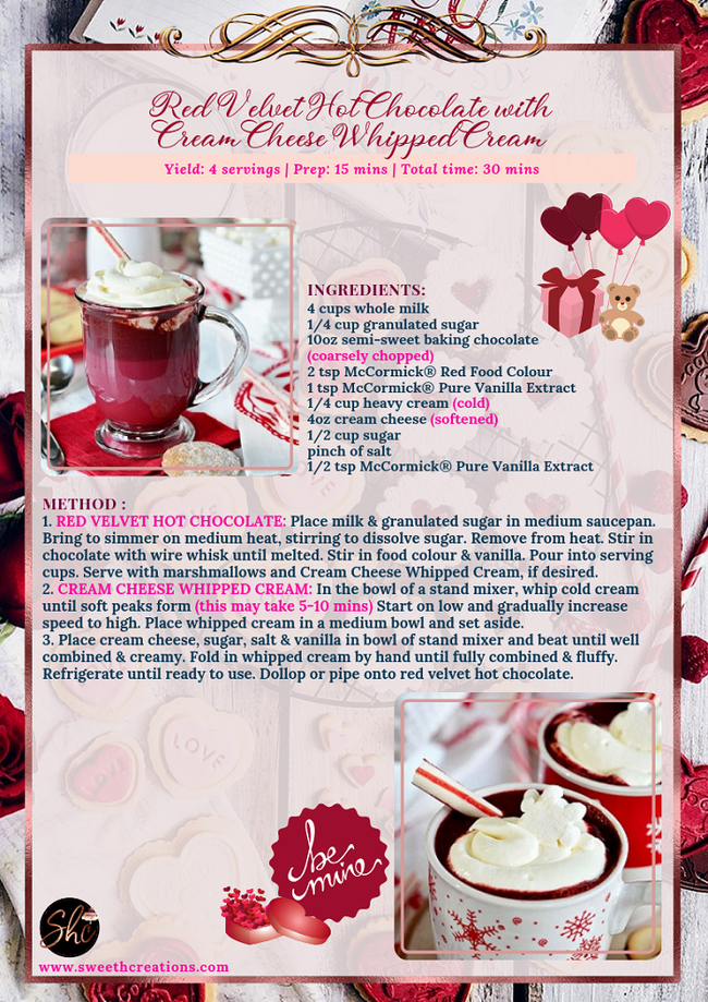 RED VELVET HOT CHOCOLATE WITH CREAM CHEESE WHIPPED CREAM RECIPE