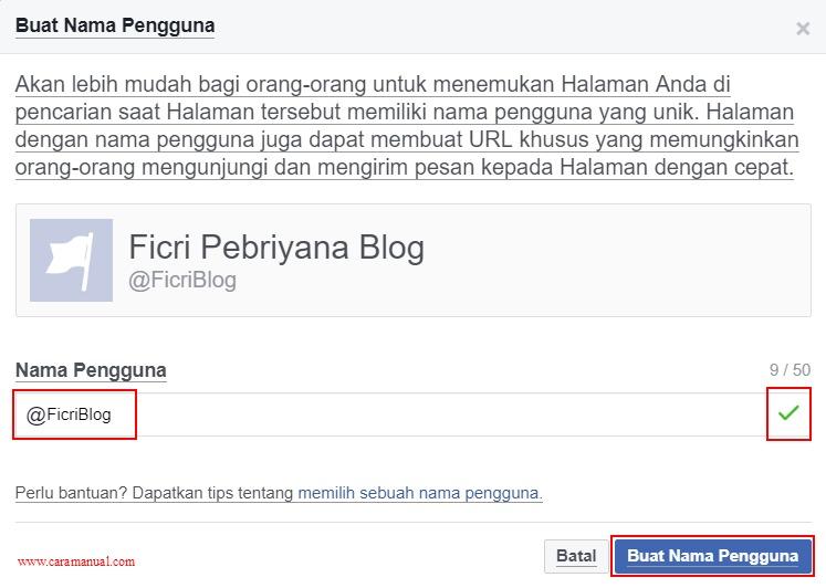 Buat Nama Pengguna Facebook