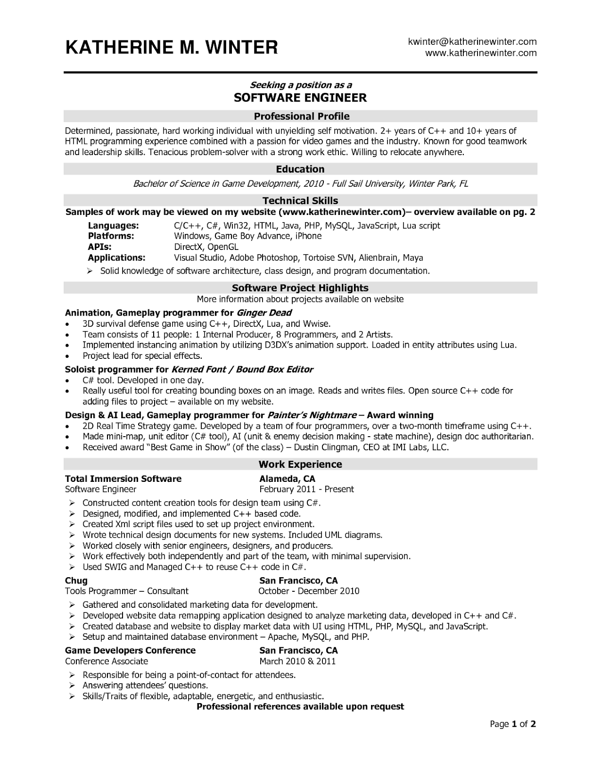 Software Engineer Resume Samples Sample Resumes