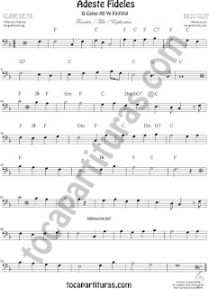 Trombón, Tuba Elicón y Bombardino Partitura de Adeste Fideles Sheet Music for Trombone, Tube, Euphonium O come All Ye Faithful Music Scores (tuba en 8ª baja)