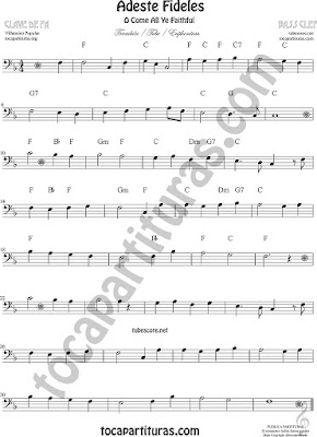 Adeste Fideles Sheet Music for Trombone, Tube, Euphonium O come All Ye Faithful Music Scores (tuba 8ª down)