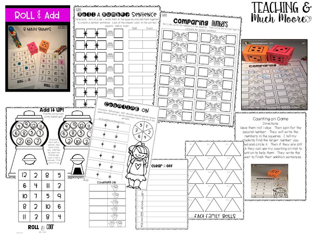 math games for first grade - lots of hands on and engaging activities