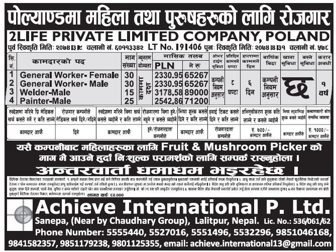 Jobs in Poland for Nepali, Salary Rs 71,200