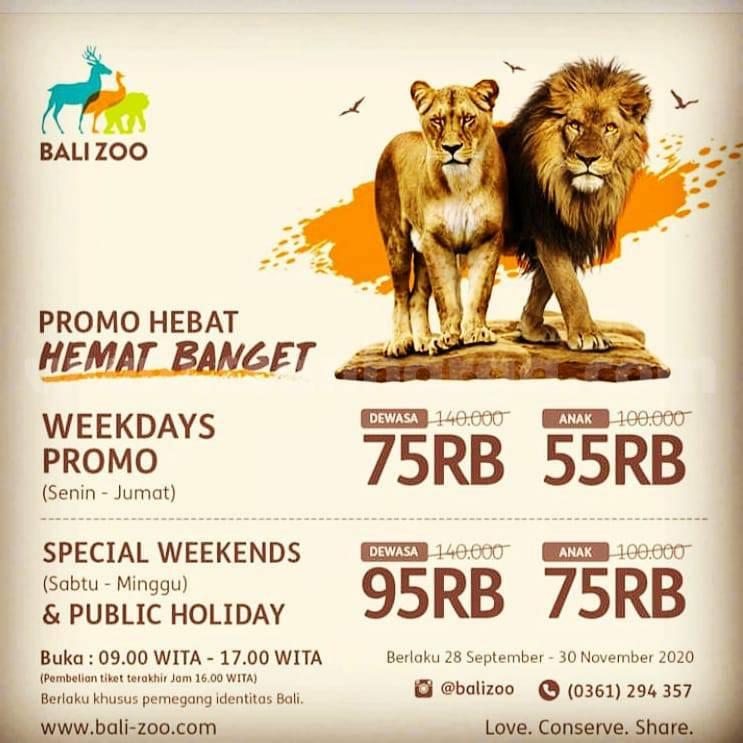 Promo Harga Tiket BALI ZOO November 2020