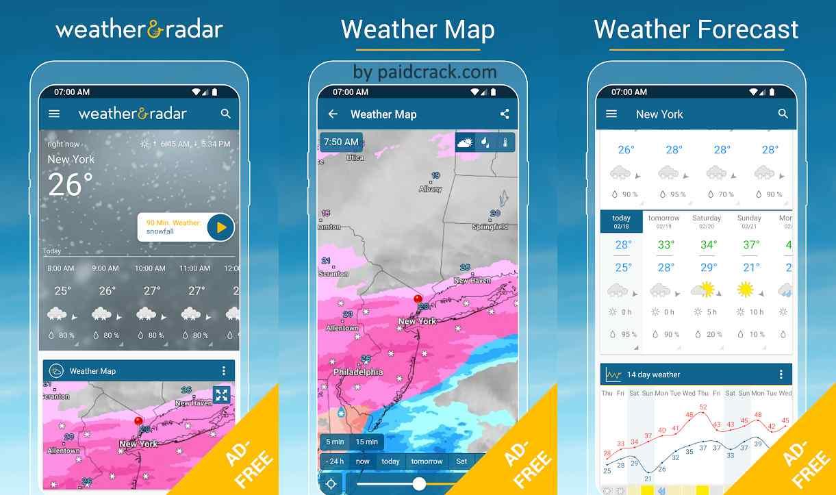 Weather & Radar USA - Winter alerts - ad free Mod Apk 2021.4 [Paid]