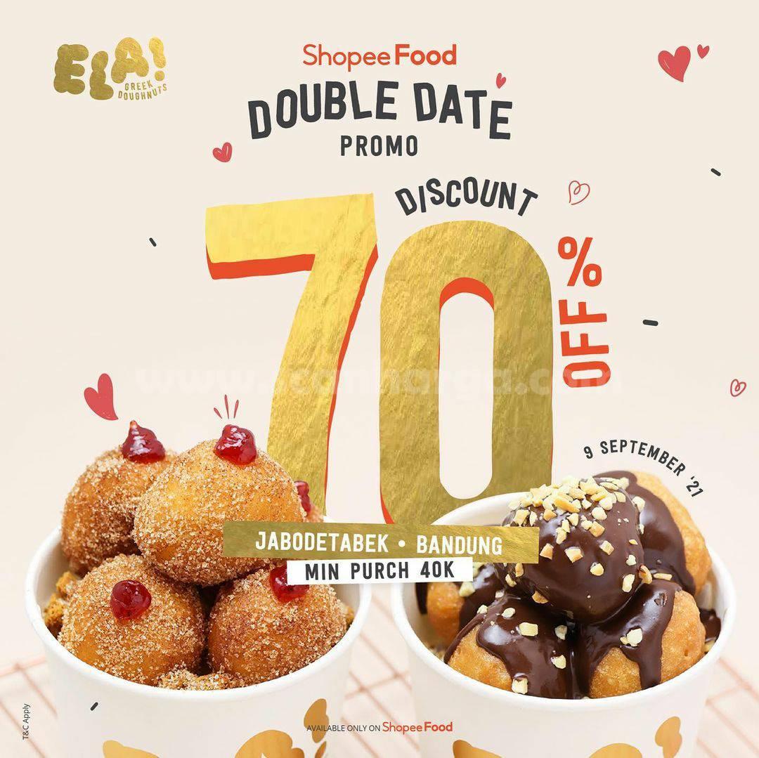 Promo Ela! Greek Doughnuts Double Date DISKON 70% via ShopeeFood
