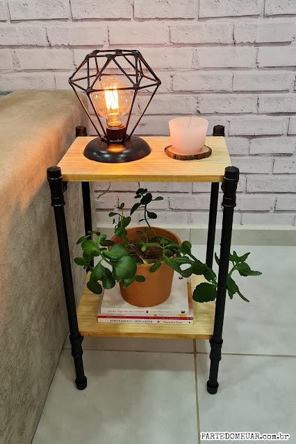 mesa cano pvc e madeira pinus