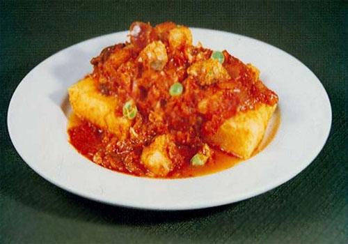 Polenta en salsa de pescado