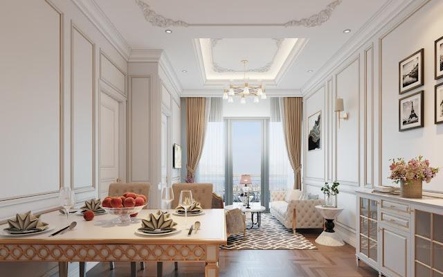 Mẫu không gian nội thất phòng khách, bàn ăn