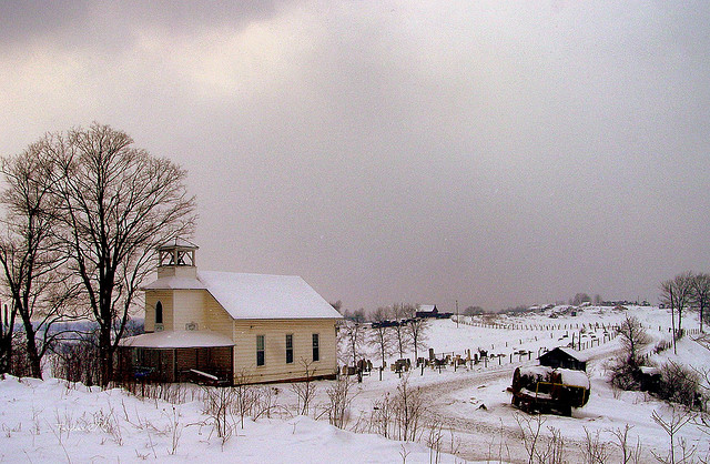 old country church in the snow