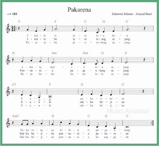 not balok lagu pakarena lagu daerah sulawesi selatan