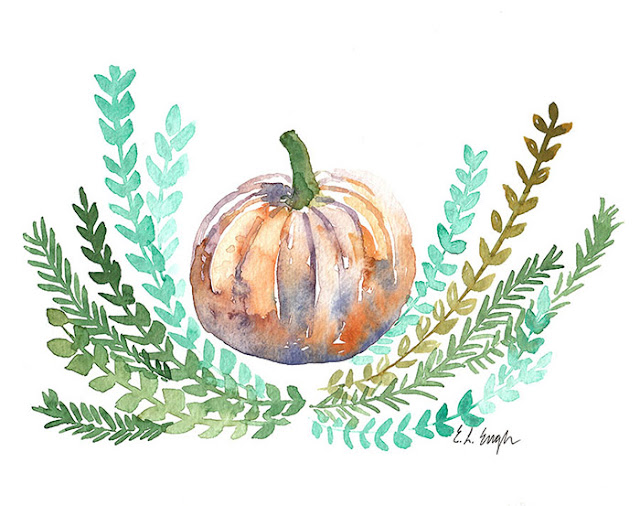 fall pumpkin watercolor painting by Elise Engh