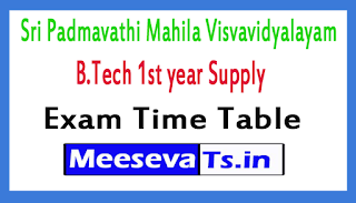 Sri Padmavathi Mahila Visvavidyalayam B.Tech 1st year Supply Exams Time Table