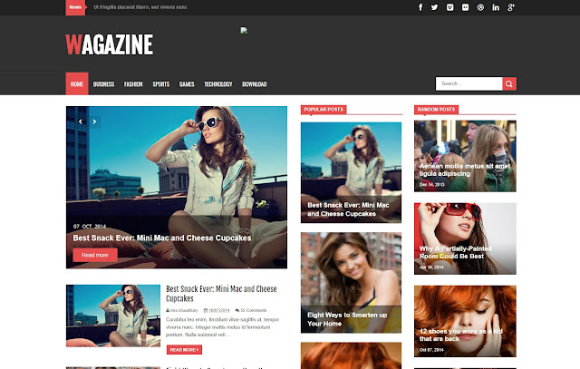 Wagazine Responsive Magazine News Blogger Template Theme