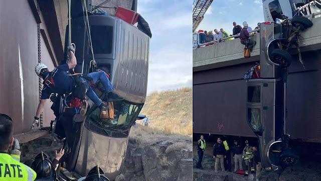Συγκλονιστικό: Διάσωση ζευγαριού μέσα από όχημα που κρεμόταν από αερογέφυρα (βίντεο)