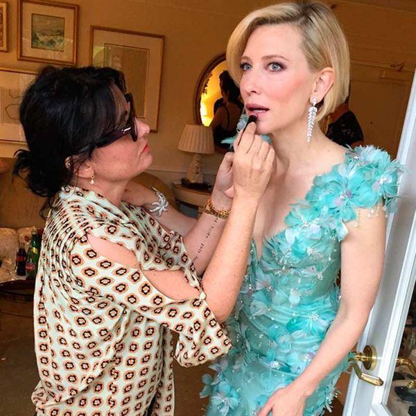 La maquilladora Jeanine Lobell retocando a Cate Blanchett