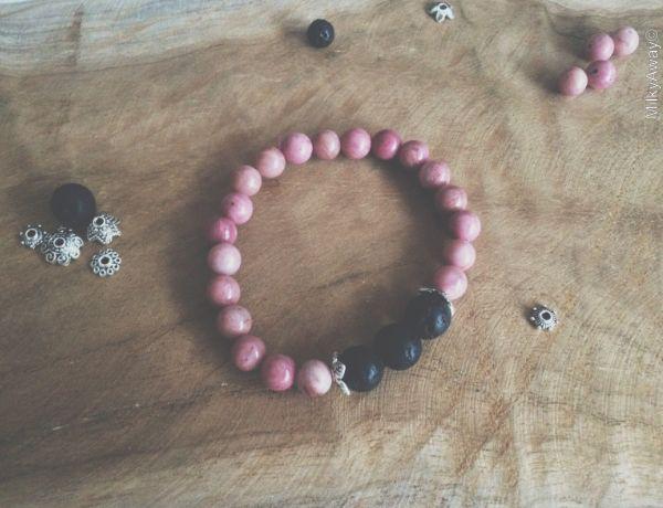 Bracelet pierres de lave et perles de rhodonite My Roller Stone