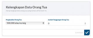 tampilan kelengkapan data orang tua pada pendaftaran SNPMTN