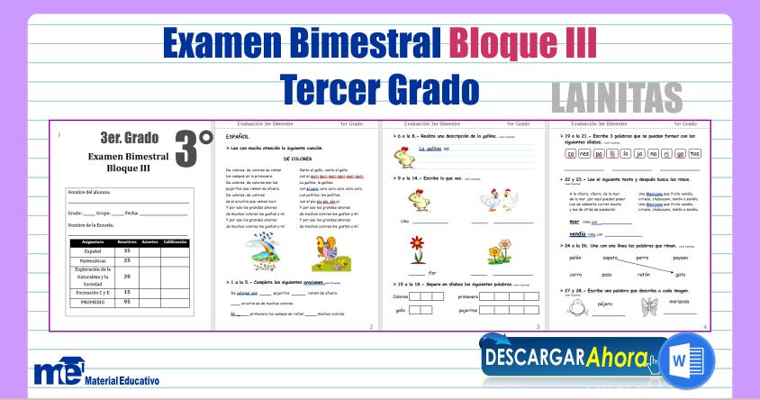 Examen Bimestral Bloque III Tercer Grado ~ MATERIAL EDUCATIVO