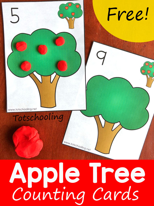 FREE printable Apple themed playdough cards perfect for toddlers and preschoolers to practice counting and numbers, along with fine motor skills. Great to use with playdough, stickers, erasers, or anything else. Fun Fall math activity!