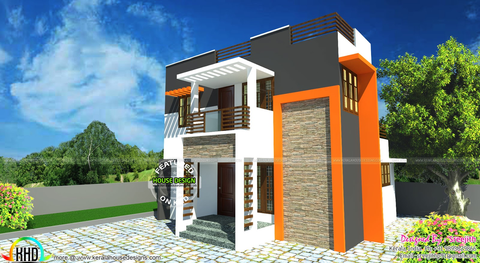 Small and beautiful contemporary house kerala home for Small modern home plans
