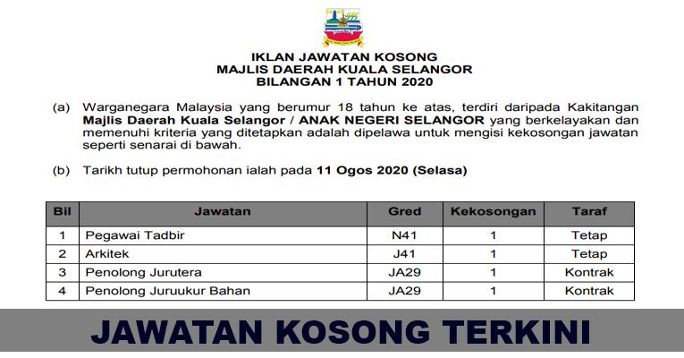 Kekosongan Terkini di Majlis Daerah Kuala Selangor
